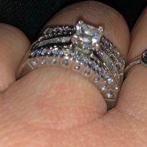 Platinum real diamond wedding set